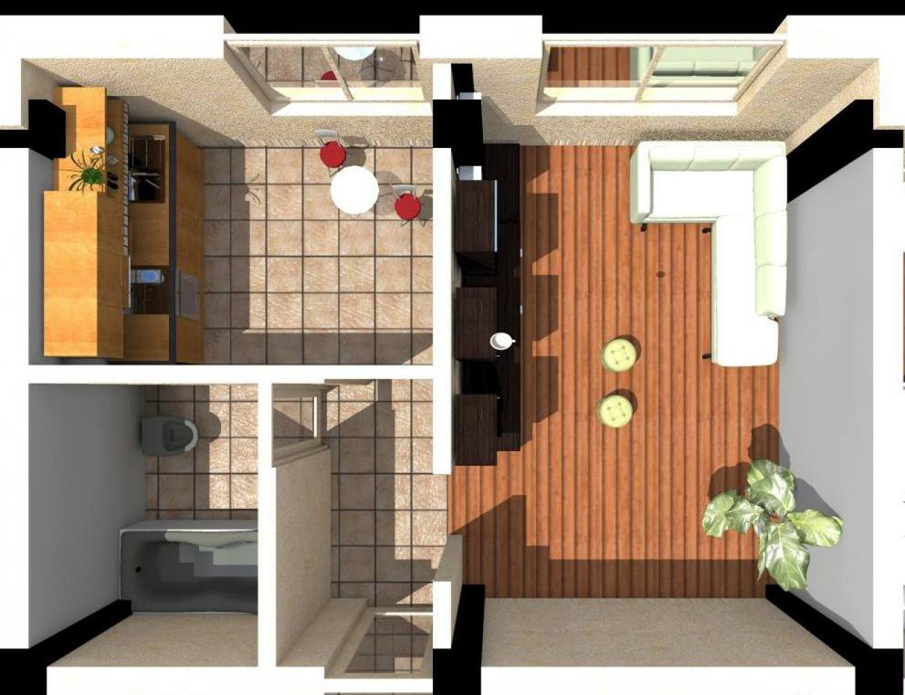 Detalii apartament 1 camera ansamblul rezidential PANORAMIC RESIDENCE 3 GALATA